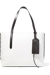 Jimmy Choo Twist East West Color Block Textured Leather Tote Black