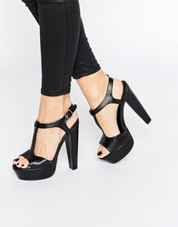 Truffle Collection T Bar Strap Heeled Sandals Black Pu