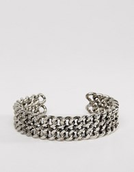 Asos Curb Chain Cuff Bracelet Antique Rhodium Silver