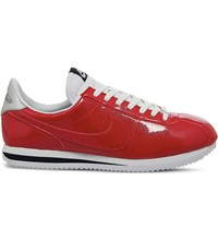 Nike Cortez Basic Metallic Leather Trainers Gym Red White Silver