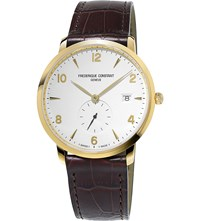 Frederique Constant Fc245va5s5 Slimline Gold Plated Stainless Stell And Leather Watch