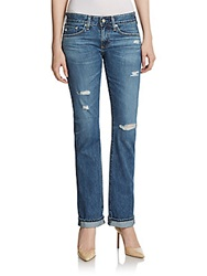Ag Adriano Goldschmied Distressed Straight Leg Jeans Blue