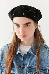 Urban Outfitters Scattered Grommet Beret Black