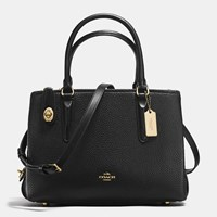 Coach Brookyln Carryall 28 In Pebble Leather Light Gold Black