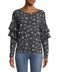 Cynthia Steffe Speckled Ruffle Tiered Long Sleeve Blouse Black