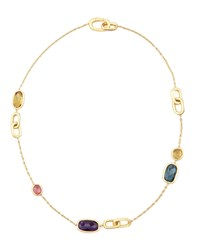 Murano Mix Stone And Link Station Necklace 18' Marco Bicego Purple