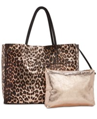 Betsey Johnson In A Flash Large Shopper Tote With Pouch Leopard