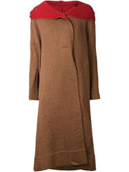 Uma Wang Oversized Hooded Coat Brown