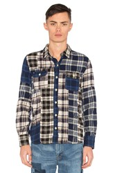 Remi Relief Patchwork Flannel Shirt Blue