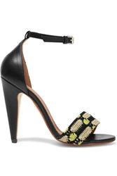 M Missoni Crochet Knit And Leather Sandals Black