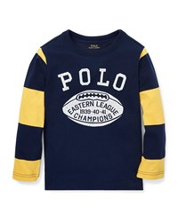 Ralph Lauren Polo Football Striped Sleeves T Shirt Blue