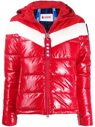 Invicta Color Block Hooded Puffer Jacket Red