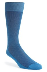 Men's Canali Solid Cotton Socks Blue