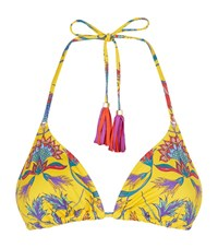Lazul Tropical Flower Triangle Bikini Top Female Multi