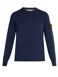Stone Island Crew Neck Cotton Sweater Blue