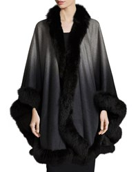 Sofia Cashmere Ombre Cashmere Cape With Fox Fur Trim Cape Gray Grey Ombre