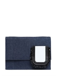 N 21 Structured Denim Shoulder Bag