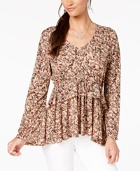Styleandco. Style Co Printed Babydoll Top Calico Blush