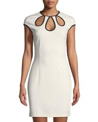 Grayse Cap Sleeve Teardrop Cutout Sheath Dress White Black