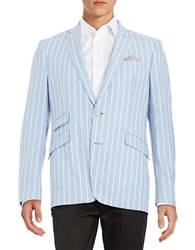 Tallia Orange Striped Linen Blend Blazer Blue