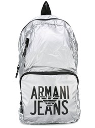Armani Jeans Logo Print Backpack Metallic