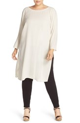 Eileen Fisher Plus Size Women's Silk Crepe Georgette Bateau Neck Tunic Bone