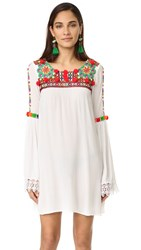 Pia Pauro Long Sleeve Embroidered Tunic White