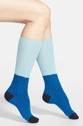 Pantherella 'Clara' Slouchy Wool And Cashmere Blend Boot Socks Blue