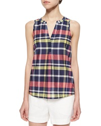 Joie Capucine Sleeveless Plaid Blouse Dark Navy