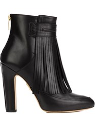 Maiyet 'Blake' Fringe Heeled Booties Black