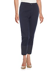 Ag Adriano Goldschmied Tristan Cropped Coated Ankle Trousers Navy