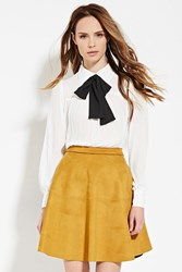 Forever 21 Contemporary Bow Front Blouse Ivory Black