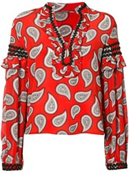 Dodo Bar Or Long Sleeve Paisley Blouse Women Silk 42 Red