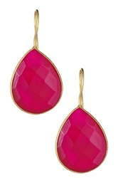 Gold Plated Sterling Silver Hot Pink Chalcedony Teardrop Earrings Red