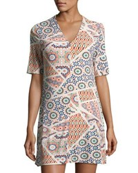 Cynthia Steffe Jocelyn Half Sleeve Geometric Print Dress Neutral Pattern