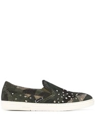 Jimmy Choo Grove Studded Slip On Sneakers Green
