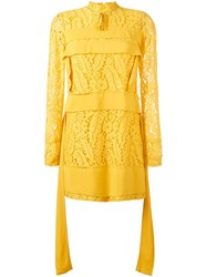 N 21 No21 Floral Lace Panel Dress Yellow And Orange