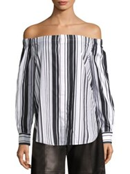 Polo Ralph Lauren Striped Off The Shoulder Shirt White Bold Black