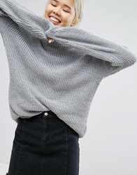Daisy Street Oversized Crew Neck Jumper In Space Knit Space Knit Multi