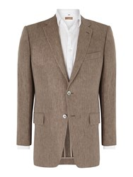 Chester Barrie Linen Chambray Single Breasted Jacket Taupe