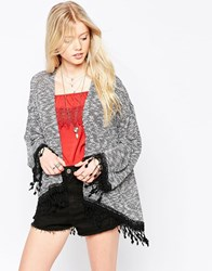 Kiss The Sky Hot Summers Night Cardigan With Fringe Hem Salt And Pepper Grey