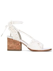Paloma Barcelo Woven Block Heel Sandals Women Raffia Leather 40 White