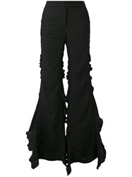 Marco De Vincenzo Frill Trim Flared Trousers Women Polyester 40 Black