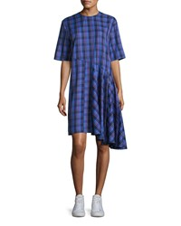 Public School Rima Plaid Cotton Dress Blue Pattern