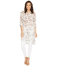 Vince Camuto Long Sleeve Painterly Muses Two Pocket Long Tunic New Ivory Women's Long Sleeve Pullover Bone