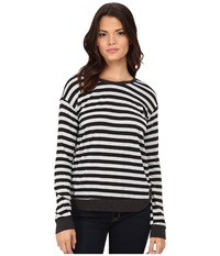 Lna Addison Thermal Long Sleeve Charcoal Ice Stripe Women's Long Sleeve Pullover Gray