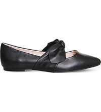 Office Fruity Bow Leather Flats Black Leather