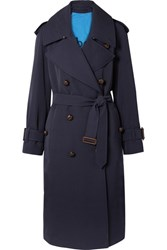 Burberry The Regina Oversized Wool Gabardine Trench Coat Navy Usd