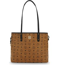 Mcm Visetos Coated Canvas Tote Cognac