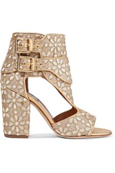 Laurence Dacade Rush Cutout Brocade Sandals Gold